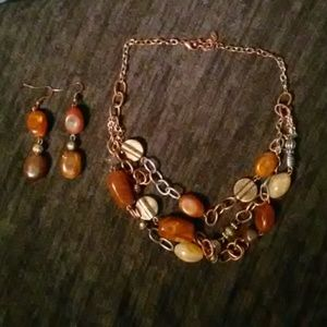 Vintage beaded necklace earring set
